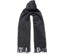 Fringed Cashmere Scarf - Gray