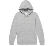 Slim-fit Mélange Loopback Cotton-jersey Zip-up Hoodie