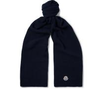 Appliquéd Wool Scarf - Midnight blue