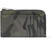 Camouflage-print Full-grain Leather Cardholder - Army green