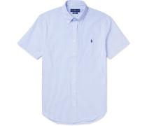Slim-fit Button-down Collar Striped Cotton-seersucker Shirt