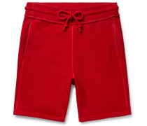 Garment-dyed Loopback Cotton-jersey Drawstring Shorts - Red