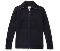 Fisherman Merino Wool Zip-up Cardigan - Navy