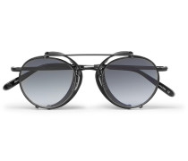 Wilson M 49 Round-frame Acetate And Metal Sunglasses With Clip-on Leather Shields - Black