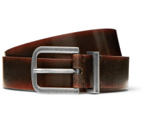 3cm Dark-brown Burnished-leather Belt - Dark brown