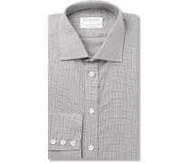+ Turnbull & Asser Slim-fit Prince Of Wales Checked Cotton And Cashmere-blend Shirt - Light gray