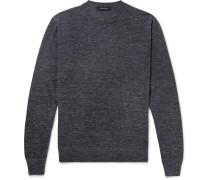 Slim-fit Mélange Cashmere, Silk And Linen-blend Sweater