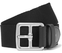 3cm Black Canvas And Leather Belt - Black