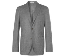 Grey Slim-fit Unstructured Puppytooth Wool Suit Jacket