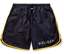The Lake Wide-Leg Mid-Length Piped Swim Shorts