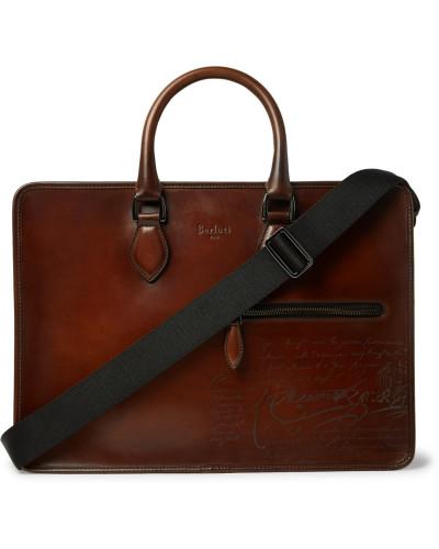 Un Jour Scritto Leather Briefcase