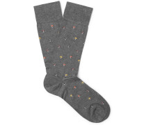 Mushrooms Intarsia Pima Cotton-blend Socks - Gray