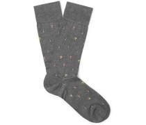 Mushrooms Intarsia Pima Cotton-blend Socks