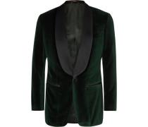 Dark-green Slim-fit Satin-trimmed Cotton-velvet Tuxedo Jacket - Green