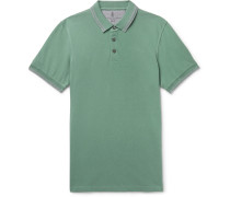 Slim-fit Contrast-tipped Cotton-piqué Polo Shirt - Green