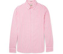 Slim-fit Button-down Collar Striped Stretch-cotton Shirt