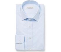 Light-blue Slim-fit Paisley Cotton-jacquard Shirt