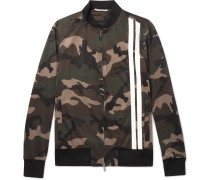 Striped Camouflage-print Tech-jersey Bomber Jacket