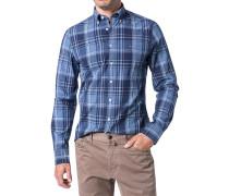 Hemd, Fitted, Baumwolle, indigo-jeans kariert