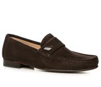 Schuhe Slipper, Kalbveloursleder, dunkel