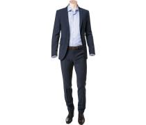 Anzug, Slim Fit, Schurwoll-Stretch, marine
