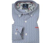 Hemd, Popeline, bleu-dunkel gemustert