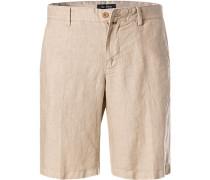 Hose Bermudashorts, Regular Fit, Leinen, sand