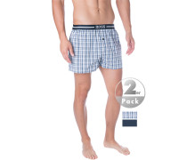 Schlafanzug Pyjamashorts, Baumwolle, weiß- kariert