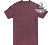 T-Shirt, Regular Fit, Baumwolle, bordeaux meliert