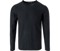 Pullover, Baumwolle, anthrazit meliert