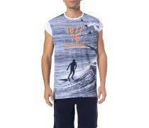 T-Shirt, Baumwolle, -blau