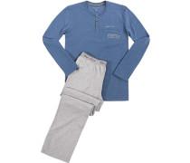 Schlafanzug Pyjama, Baumwolle, grau- meliert