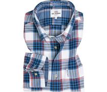 Hemd, Regular Fit, Baumwolle, -weiß-rot kariert