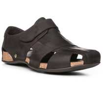 Schuhe Sandalen, Nappaleder geölt, dunkelbraun