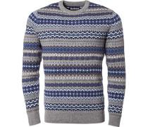 Pullover, Wolle, blau- gemustert