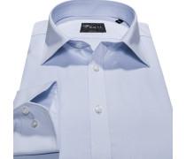 Hemd, Body Fit, Popeline, bleu