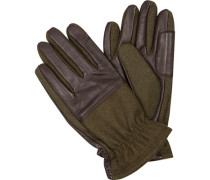 Handschuhe, Leder-Wolle, oliv-schwarz
