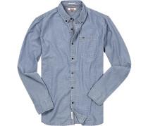 Hemd, Regular Fit, Baumwolle, jeans gemustert