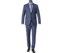 Anzug, Shaped Fit, Schurwolle, taubenblau meliert