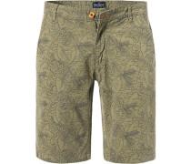 Hose Shorts, Baumwolle, oliv-blau gemustert