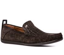 Schuhe Slipper, Veloursleder, dunkel