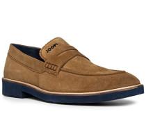 Schuhe Loafer, Veloursleder, cognac
