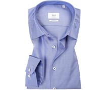 Hemd, Modern Fit, Popeline, bleu gemustert