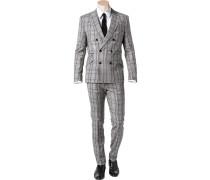 Anzug, Slim Fit, Schurwolle, -zimt kariert