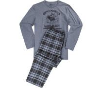 Schlafanzug Pyjama, Baumwolle, grau