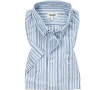 Kurzarmhemd, Slim Fit, Baumwolle, -weiß gestreift