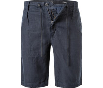 Hose Shorts, Tapered Fit, Leinen, navy