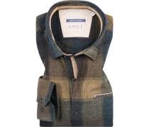 Hemd, Modern Fit, Flanell, -blau kariert