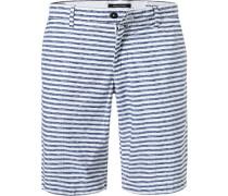 Hose Shorts, Baumwolle, tauben-weiß gestreift