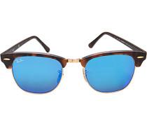 Herren Brillen Sonnenbrille Clubmaster Kunststoff braun-türkis